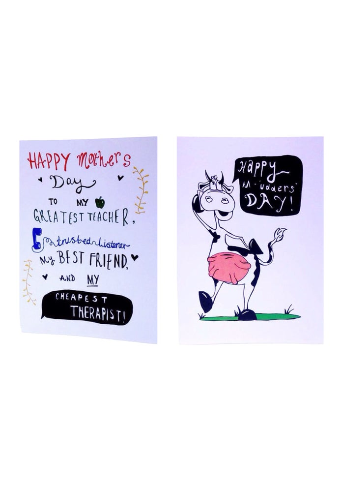 "Image of ""Happy Mother's Day - Cheapest Therapist"" and ""Happy M'udders Day"""