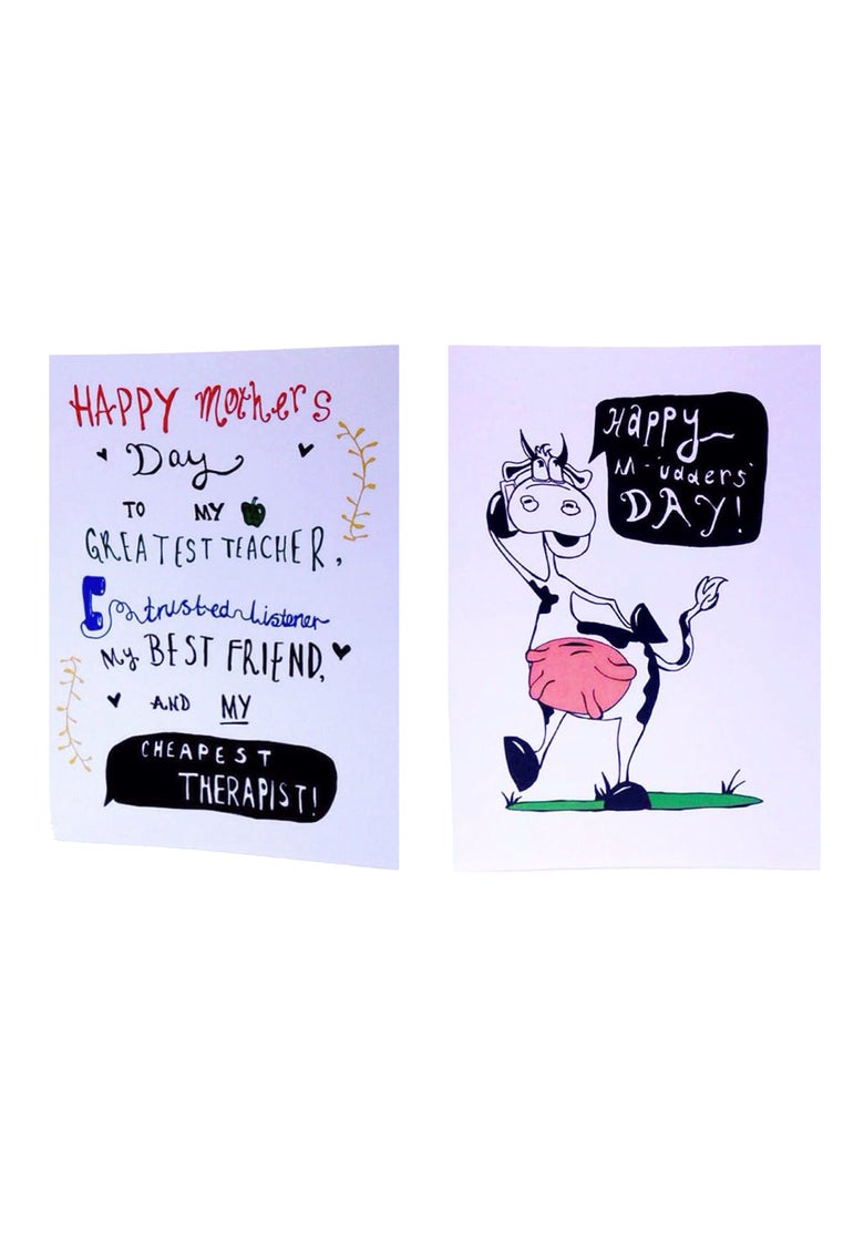 """Image of """"Happy Mother's Day - Cheapest Therapist"""" and """"Happy M'udders Day"""""""