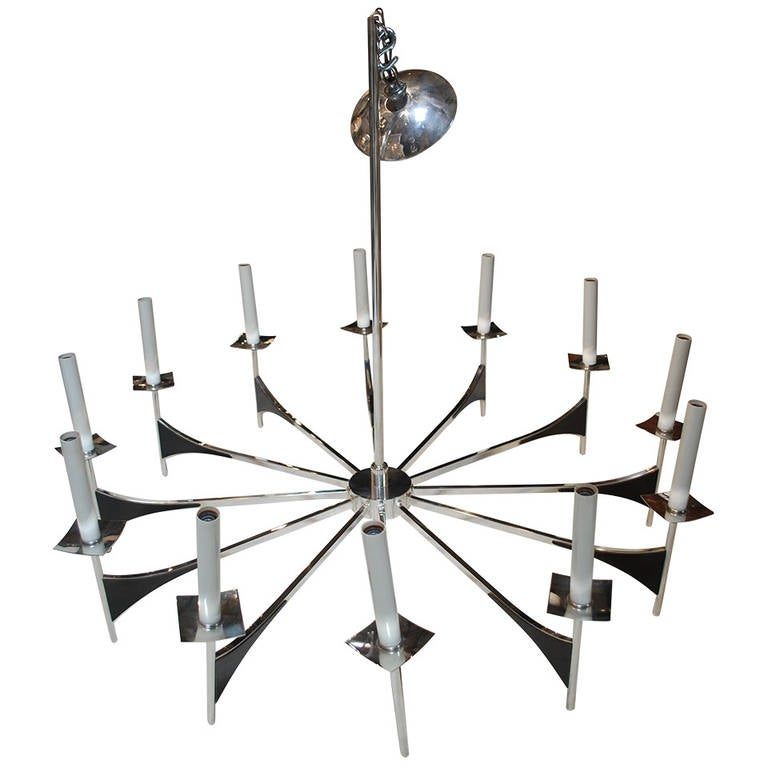 Image of Twelve Arm Nickel Chandelier by Lightolier