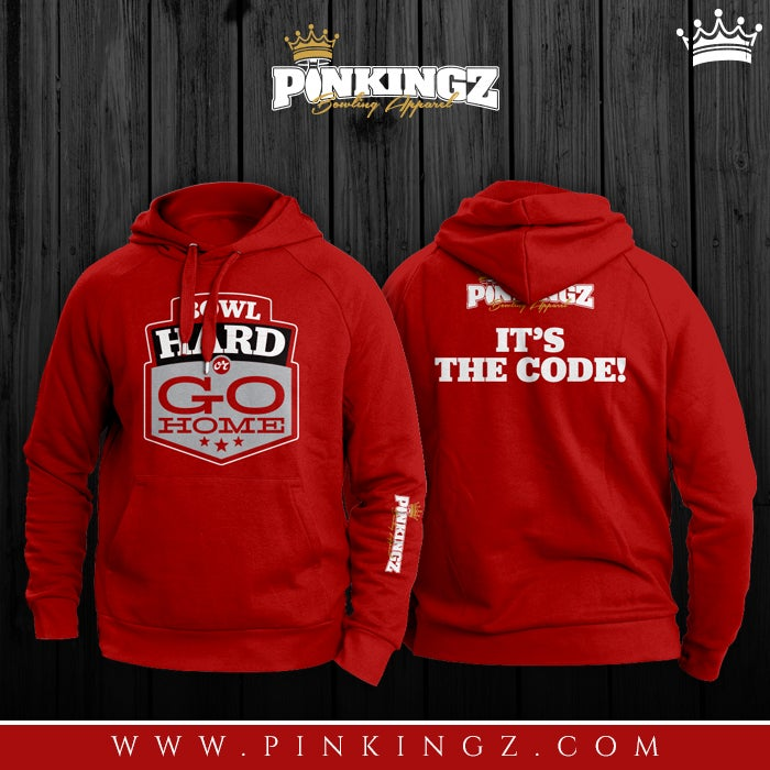 Image of Bowl Hard or Go Home Hoodie | RED- BLACK - SILVER | Pinkingz Bowling Apparel