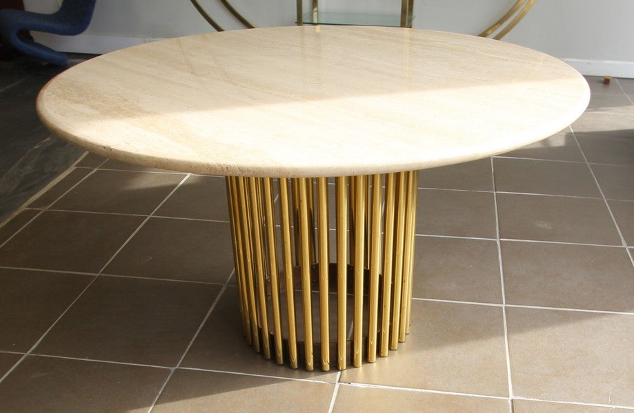 Image of Vintage Travertine Table with brass ribs and bronze band on base
