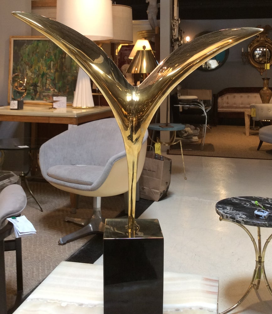 Image of Mid-Century Modern Brass Sculpture --Bird in Flight