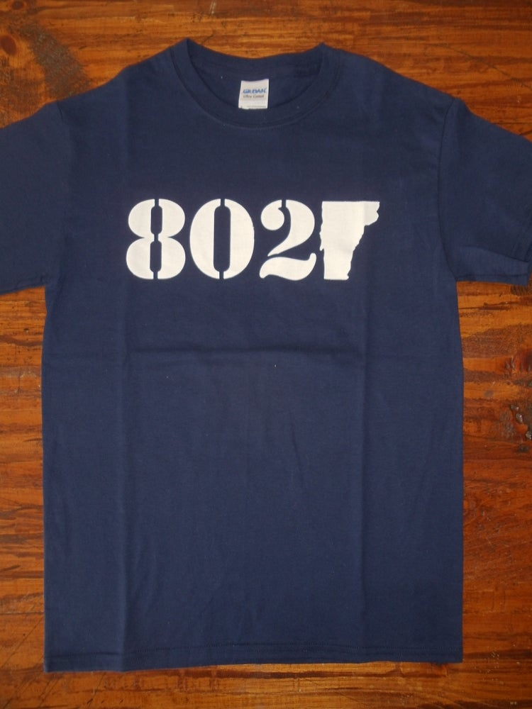 Image of Vermont 802 Classic T-Shirt - White Logo on a Navy Blue Tee