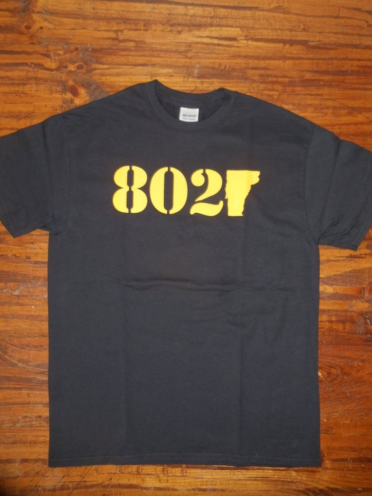 Image of 802 Classic T-Shirt - Yellow & Black - Vermont shirt - Vermont clothing