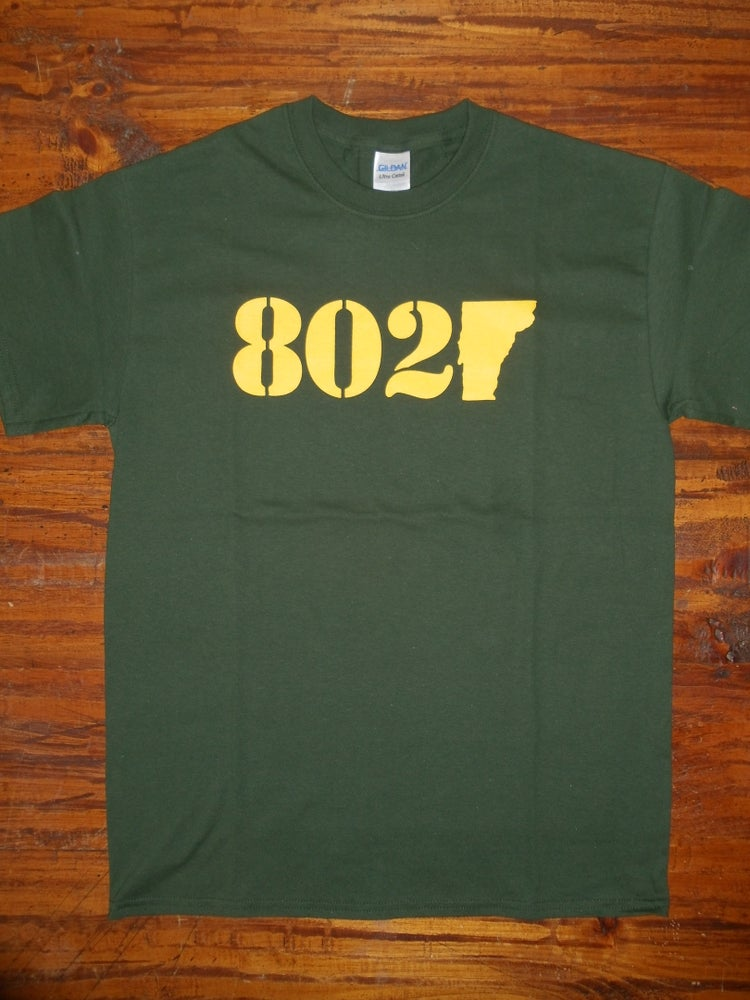 Image of Vermont 802 Classic T-Shirt - Gold & Forest Green - Toddler, Kids Youth & Adult (men's & Women's)