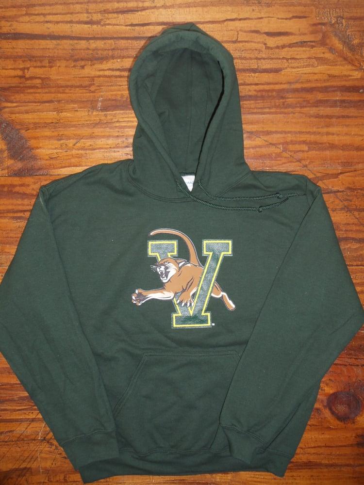 Image of UVM University of Vermont (VCAT) Catamount Hooded Sweatshirt on Forest Green