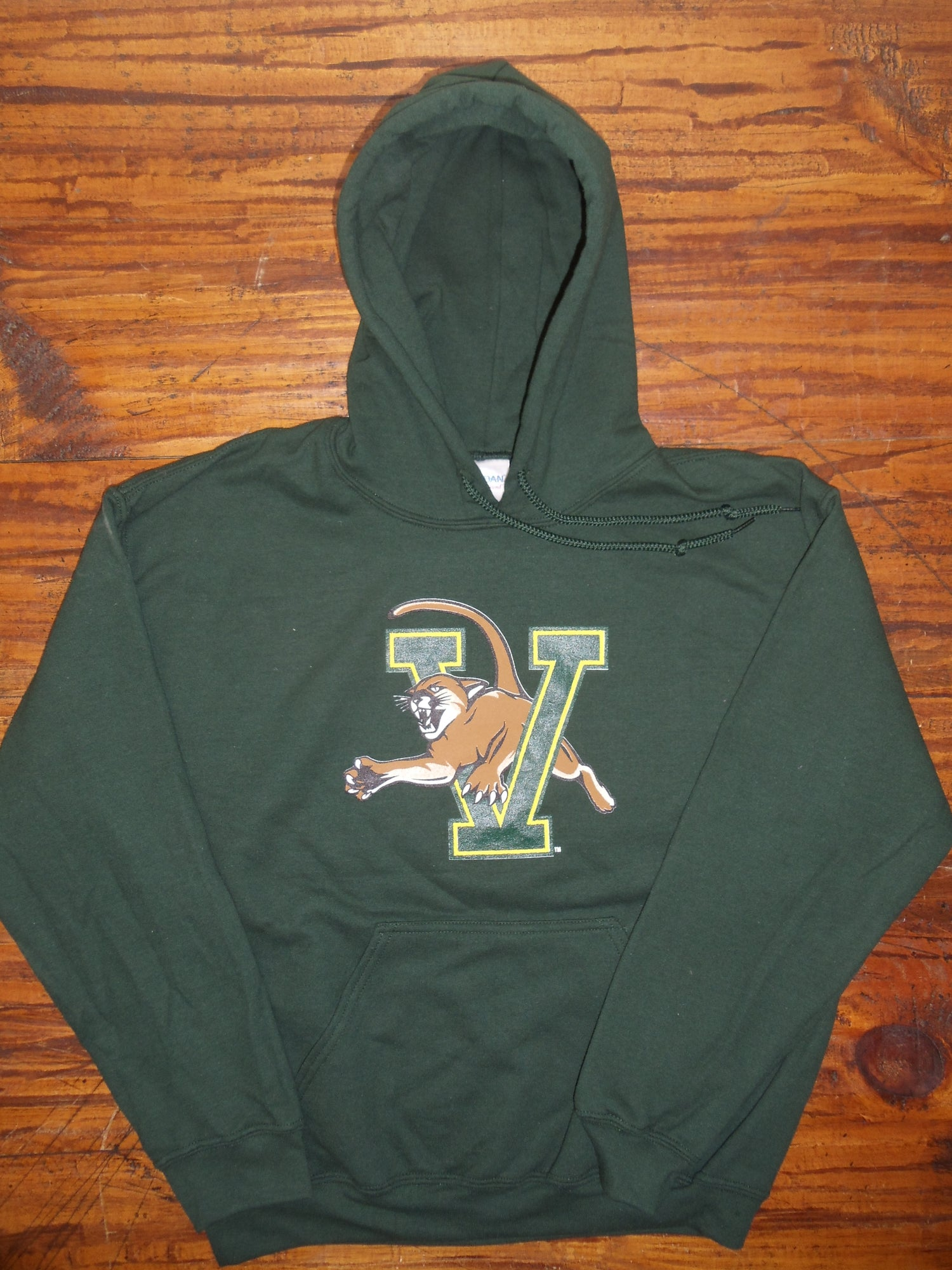 Image of UVM University of Vermont (VCAT) Catamount Hooded Sweatshirt on Forest Green