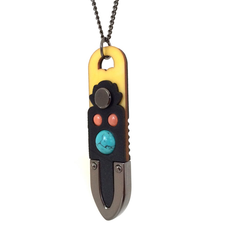 Image of Turquoise and Coral Totem Pendant