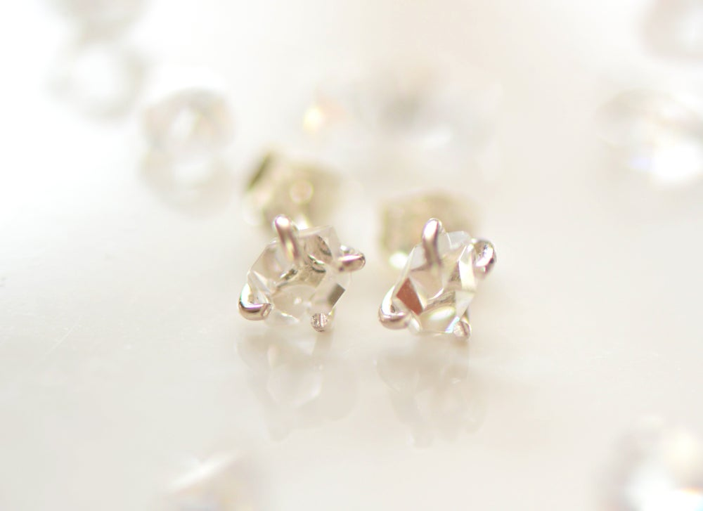 Image of Dainty Herkimer Diamond Stud Earring in Sterling Silver Claws