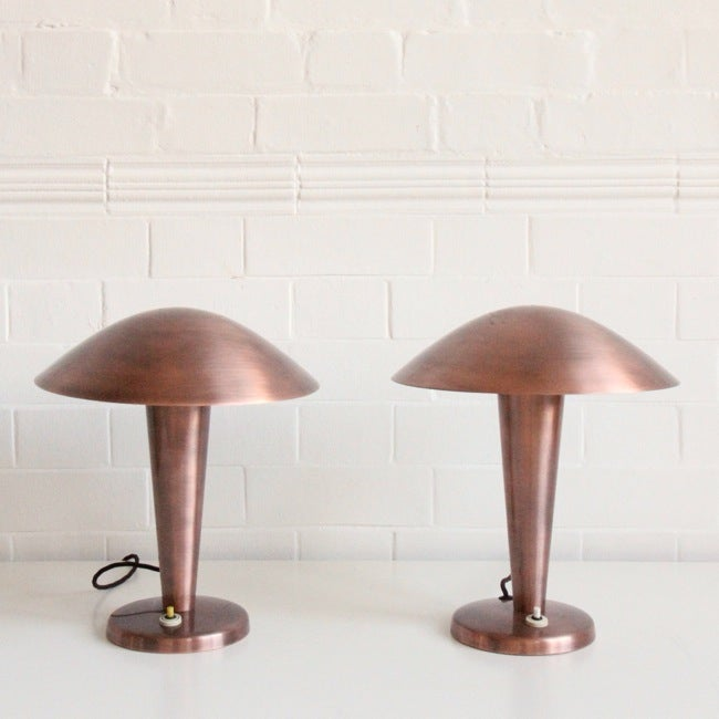 Image of PAIR OF COPPER NAPAKO MUSHROOM LIGHTS