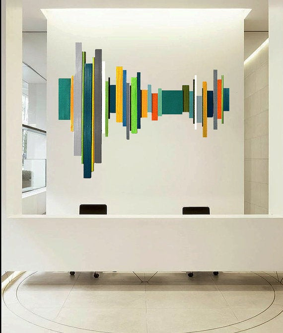 Image of 'SOUNDWAVE NO14' | modern geometric abstract painted wood wall sculpture | by Rosemary Pierce