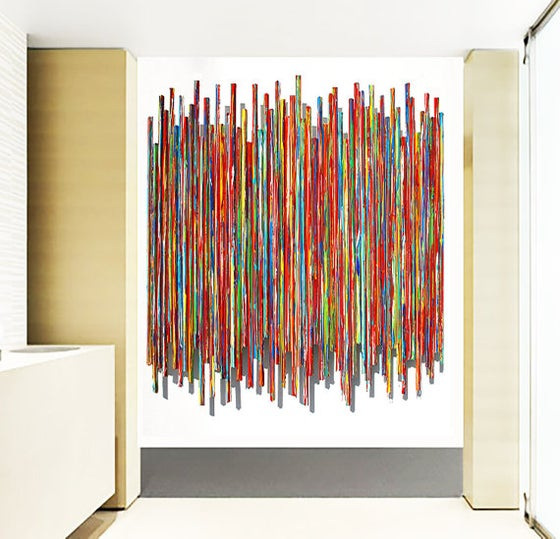 Image of 'LIFE EXPERIENCES IN RED' | Large Wall Art | Abstract Painting | Red Wall Sculpture