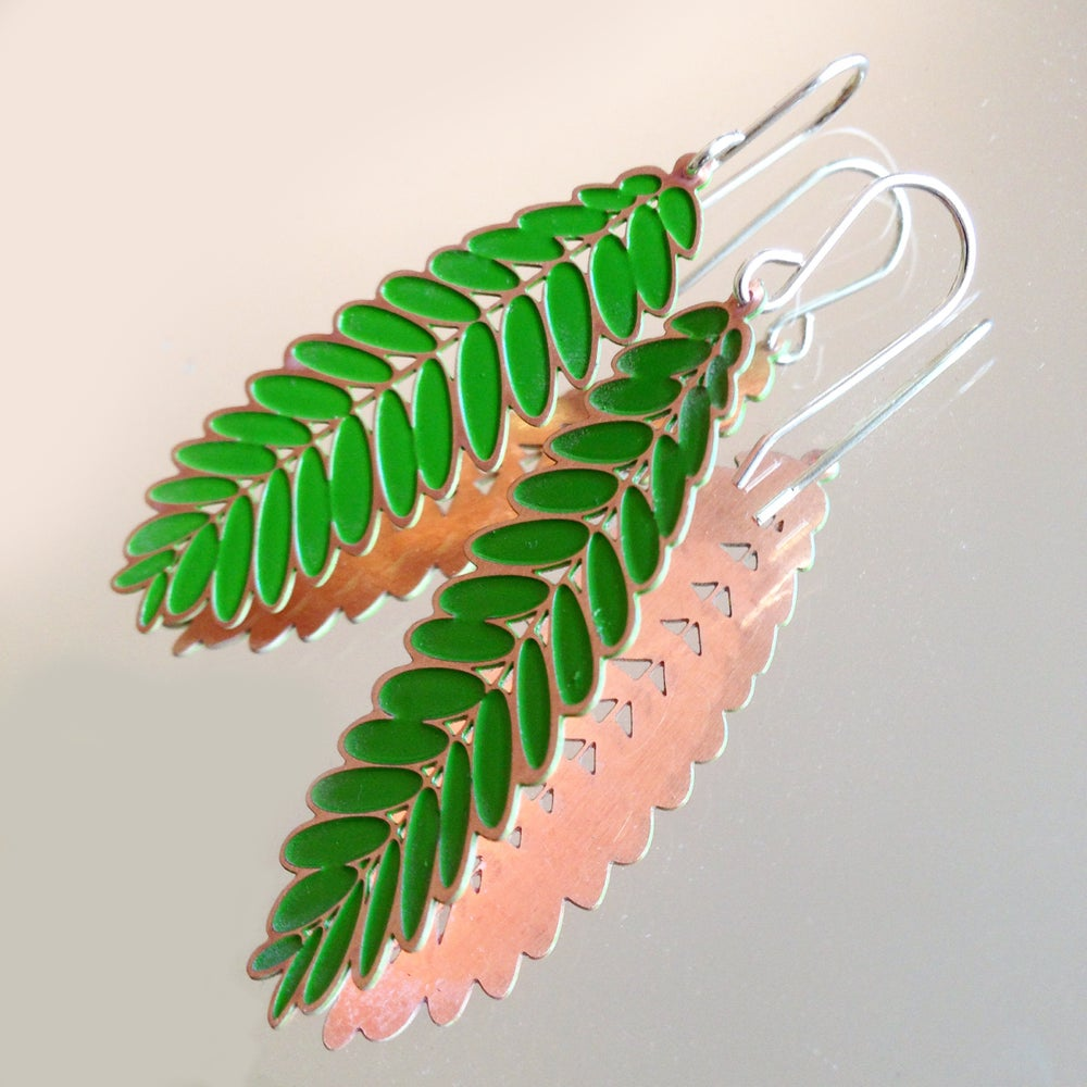 Image of LEAF EARRING: ACACIA/SENNA (COLOURED METALS)