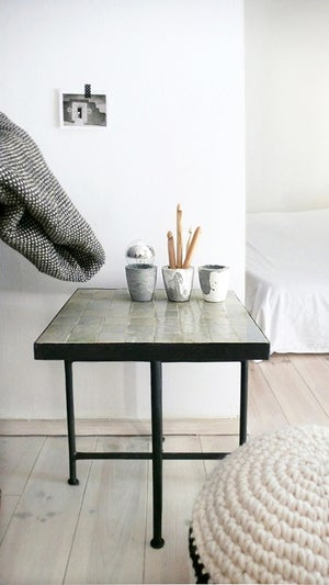 "Image of Moroccan ""Zellij"" Side Table - Stone"