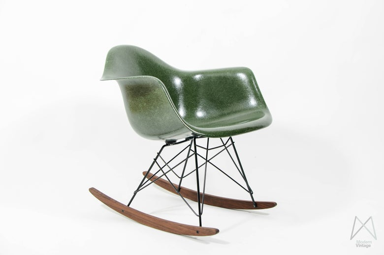 Image of Eames Herman Miller RAR rocking chair glassfiber Forest Green