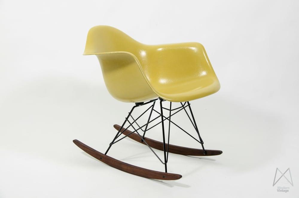 Image of Eames Herman Miller RAR rocking chair glassfiber ochre light