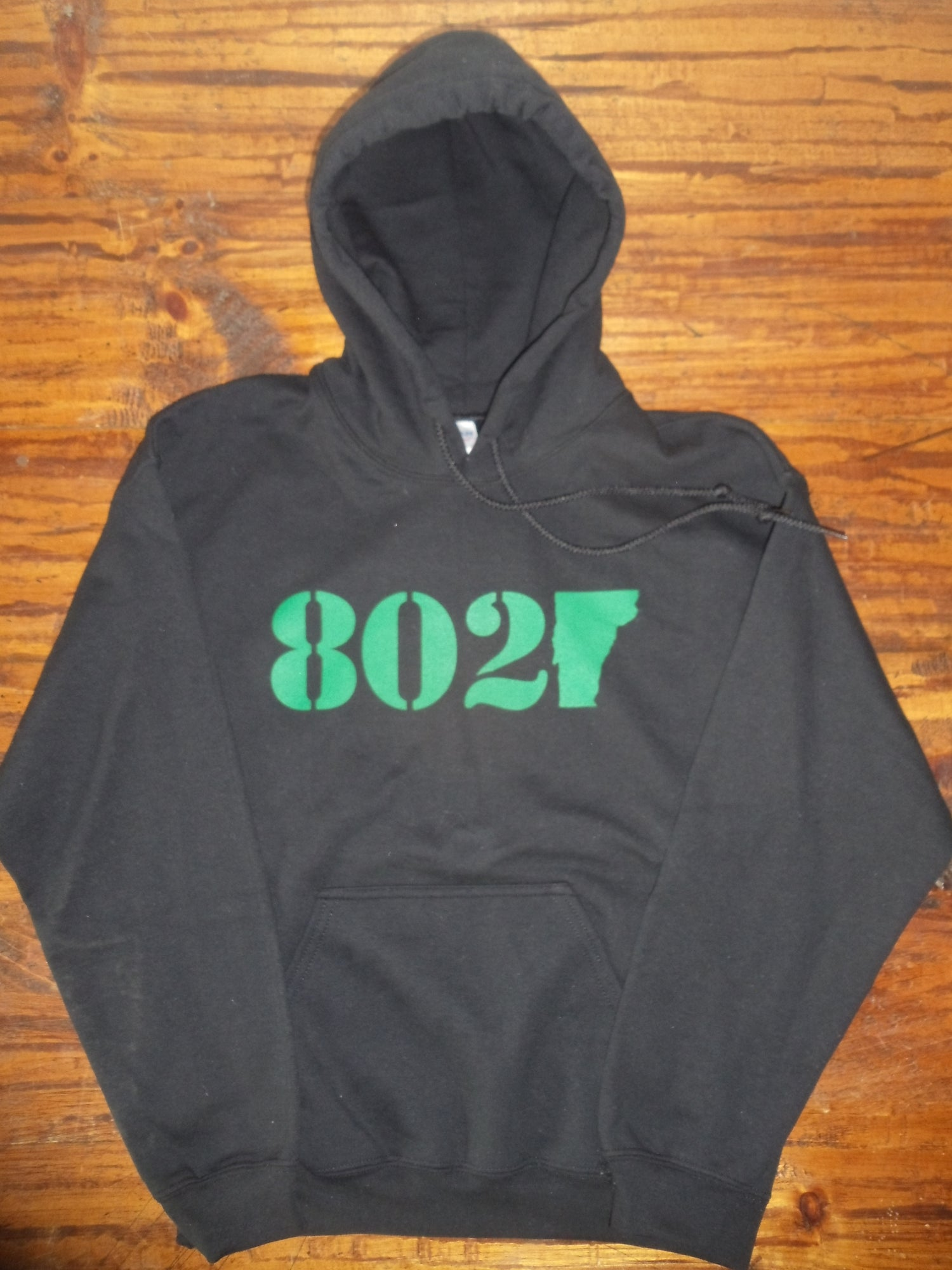 Image of 802 Classic Vermont Hooded Sweatshirt - Green logo on black Hoodie