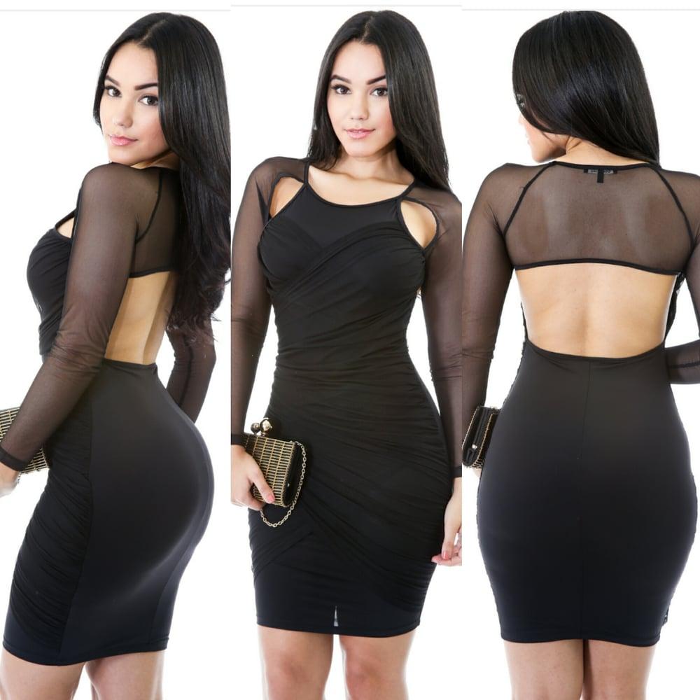 Image of mesh dress (black)