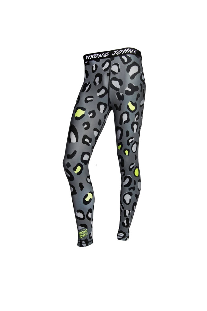 Image of Mens Grey Leopard Print Thermal Bottoms