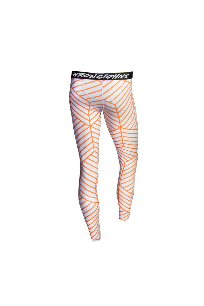 Image of Womens Orange Cubes Thermal Bottoms