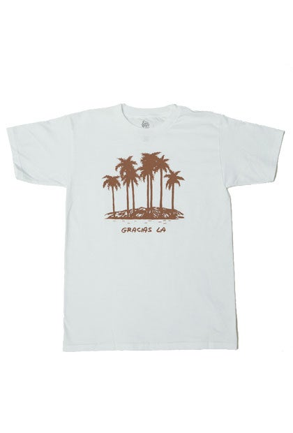 Image of Gracias LA White Palm Tree Tee.  #170