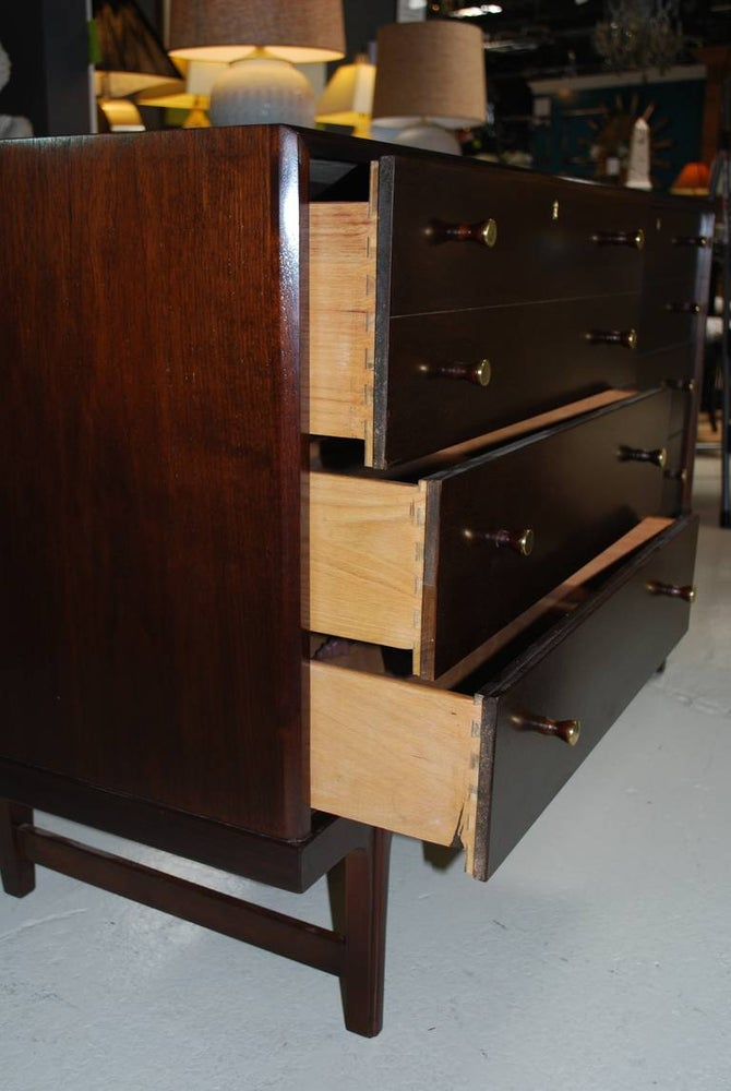 Image of walnut Mid Century chest of Drawers