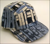 Image of MJL Blue/Grey Abstract Print Squares Camp Cap
