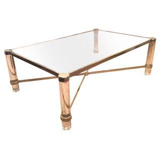 "Image of Lucite and brass ""X"" stretcher coffee table, with glass insert top"