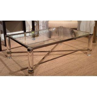 """Image of Lucite and brass """"X"""" stretcher coffee table, with glass insert top"""