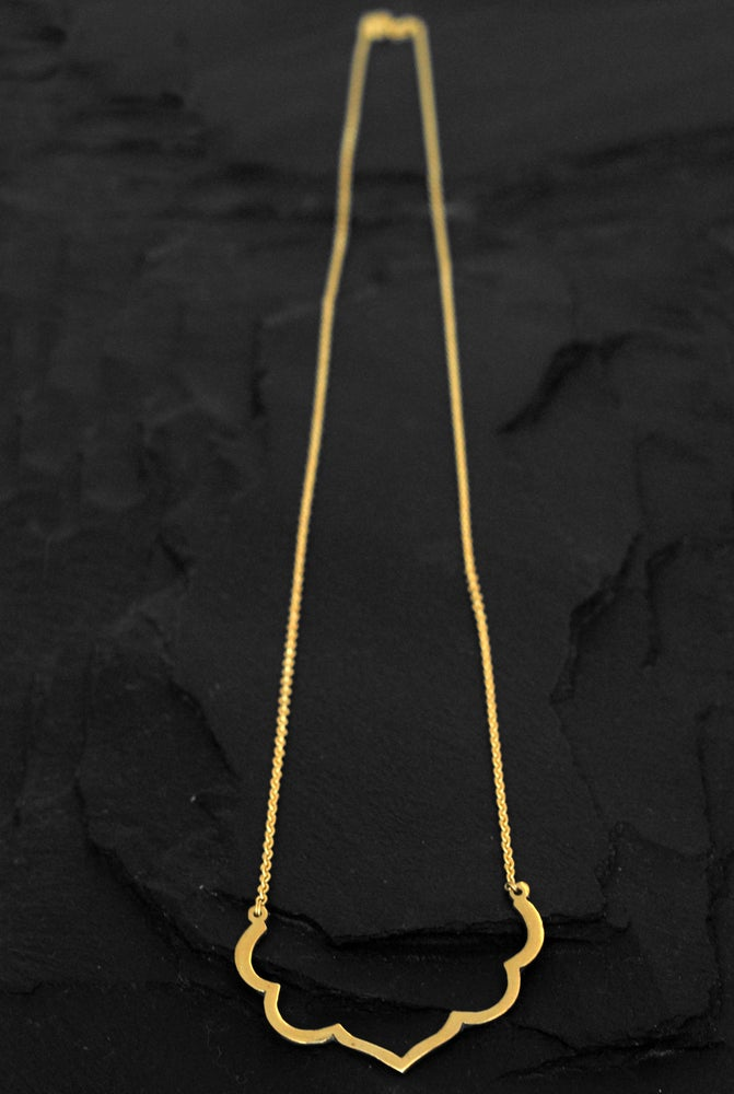 Image of Lotus necklace in silver plated brass