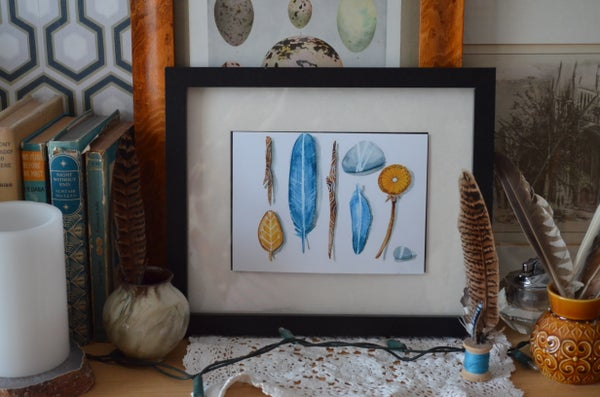 Image of Beach Treasure - Feathers and Stones