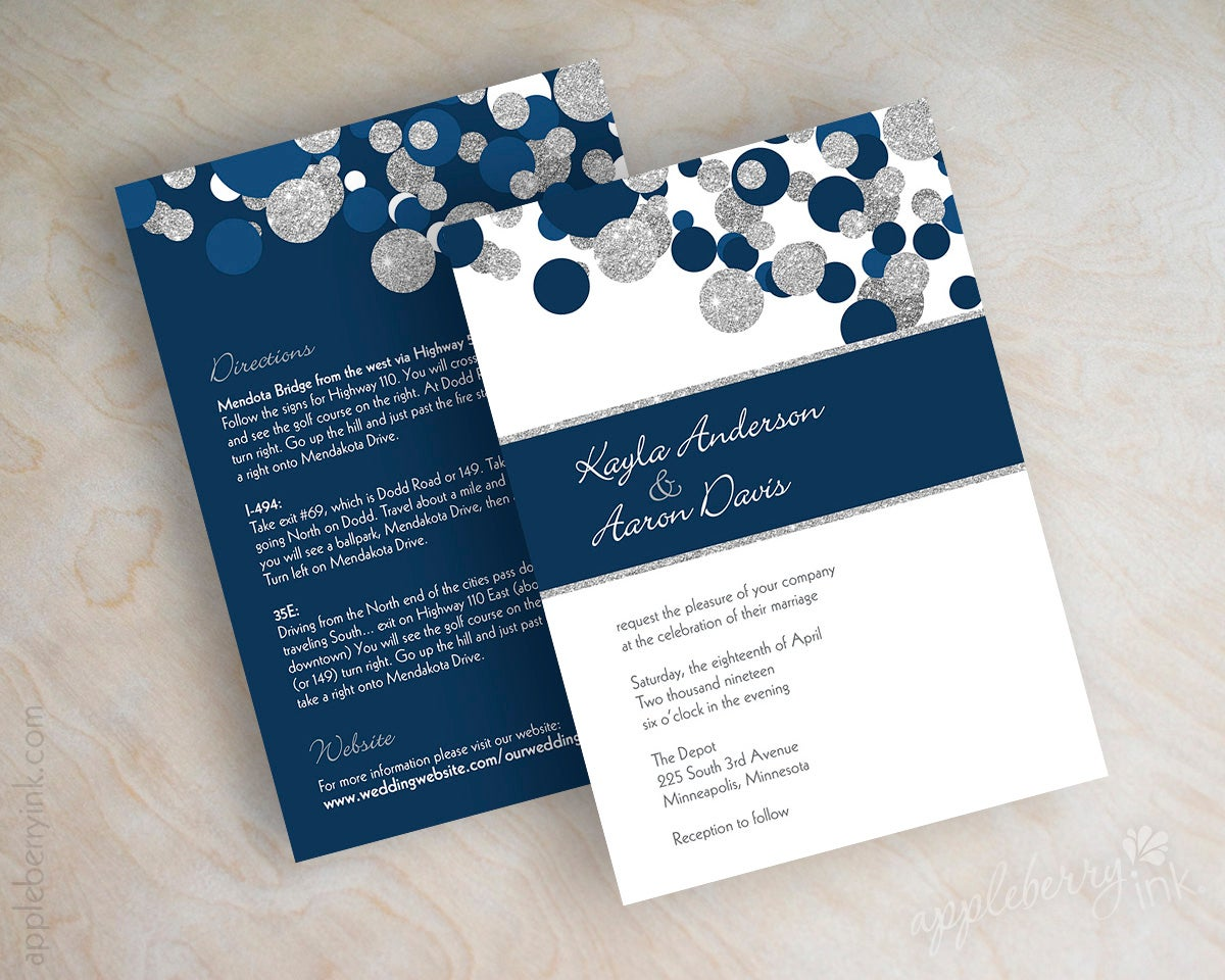 Dark Blue Wedding Invitations: Kendall Navy Blue Silver Glitter Wedding Invitations