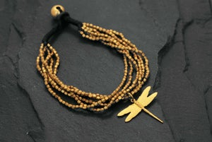 Image of Hammered bracelet 6 rows with dragonfly brass
