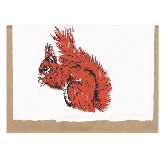 Image of RED SQUIRREL, handmade paper.