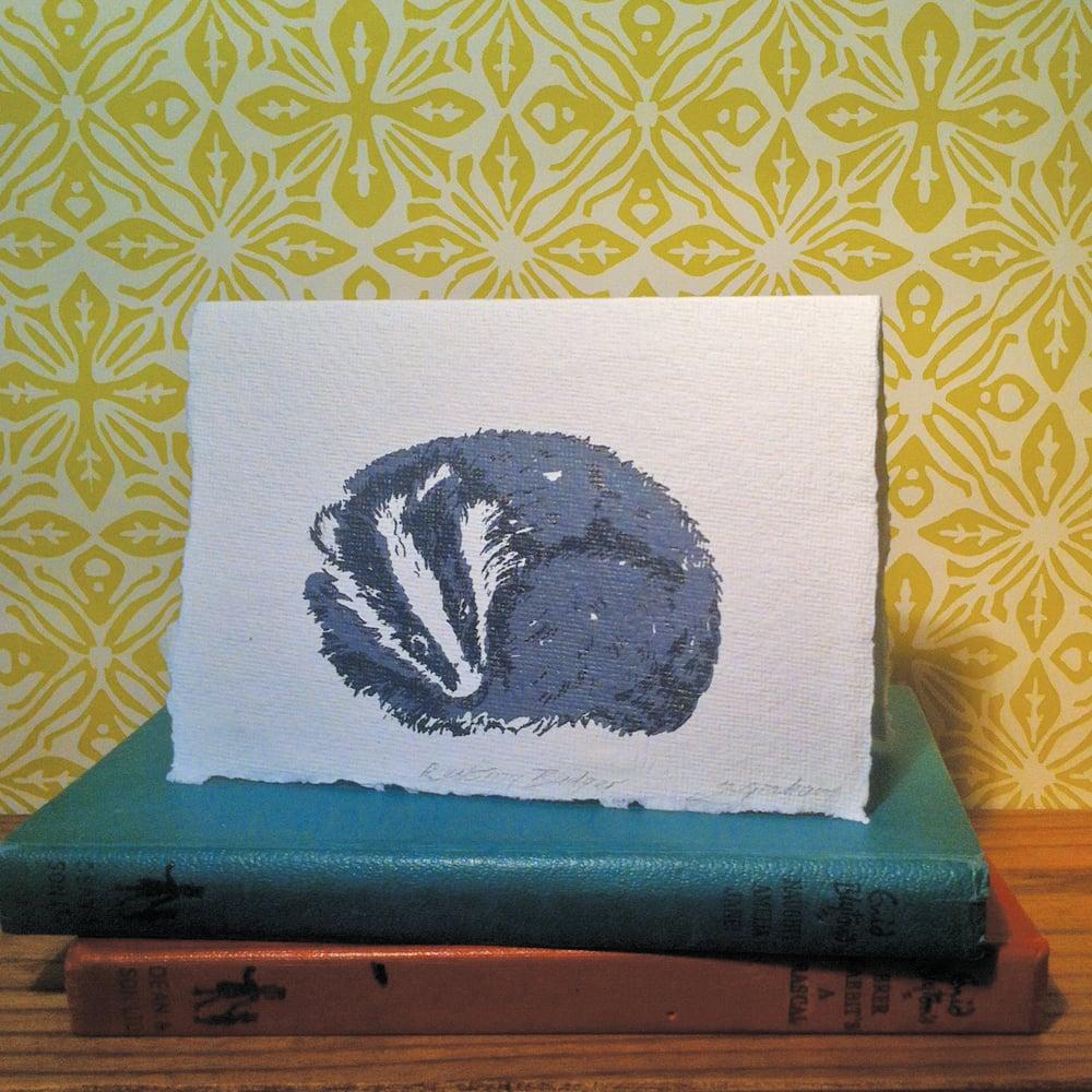 Image of RESTING BADGER CARD, handmade paper.