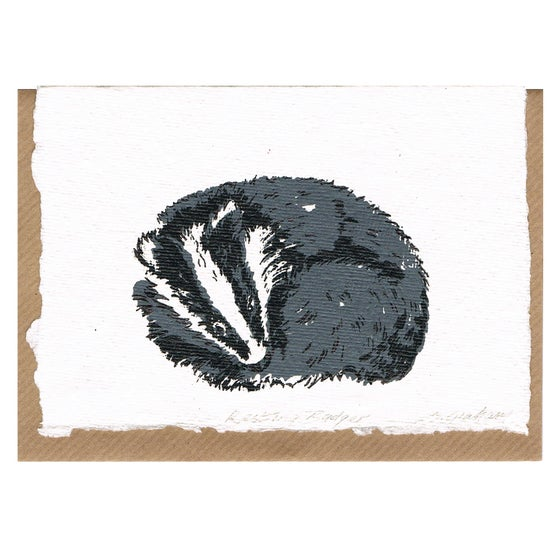 Image of RESTING BADGER CARD, handmade paper.