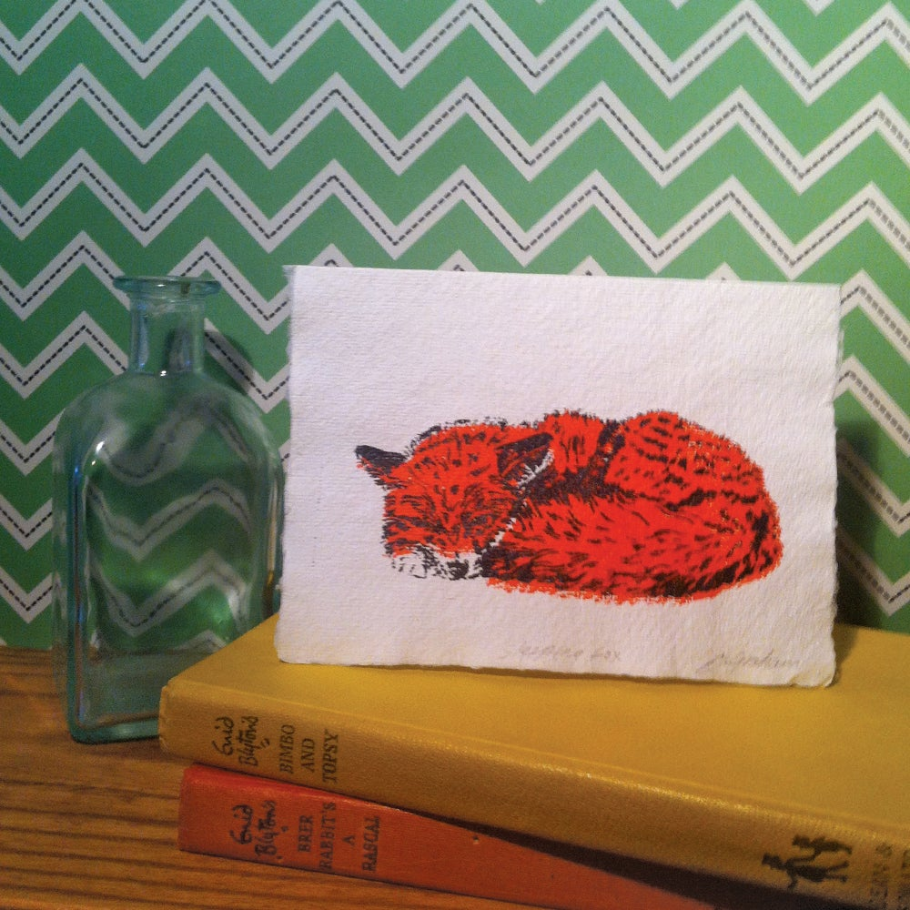 Image of SLEEPING FOX CARD screen printed by hand on cotton rag paper.