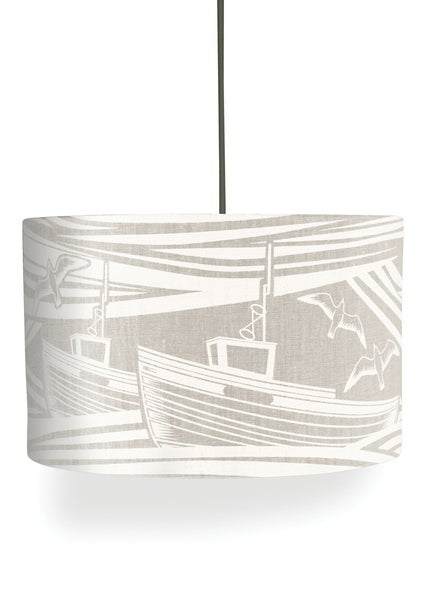 Image of Whitby Linen Lampshade - White