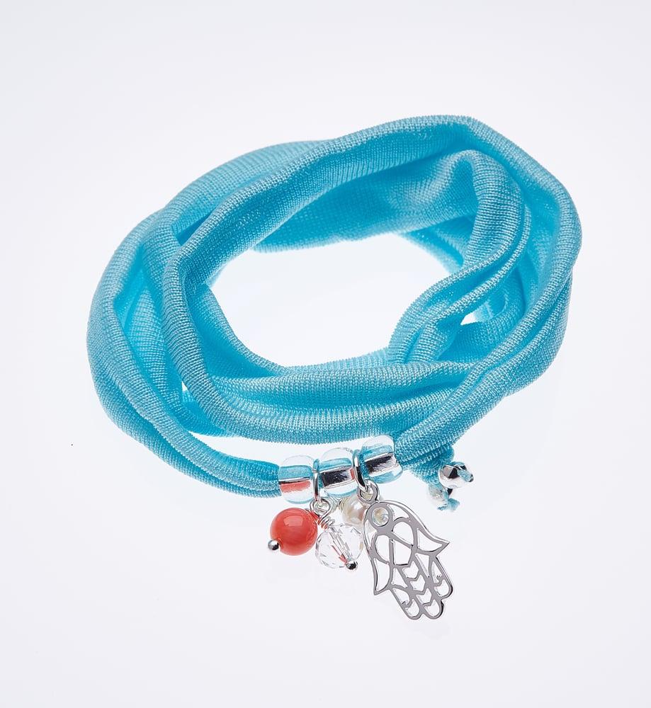 Image of Elastisches Seidenarmband Blue
