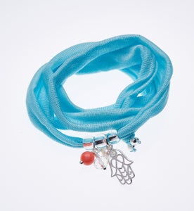 Image of Elastisches Seidenarmband Blue