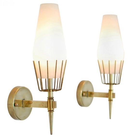 Image of Pair Arredoluce Sconces, Attr to Angelo Lelli