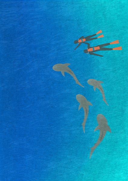 Image of Divers & Sharks