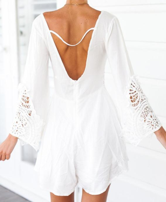 Image of CUTE WHITE SLOWER SHORTS DRESS LONG SLEEVE ROMPER