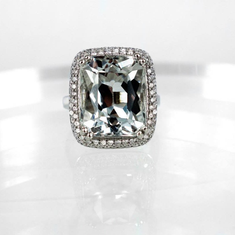 Image of White topaz diamonds cocktail ring