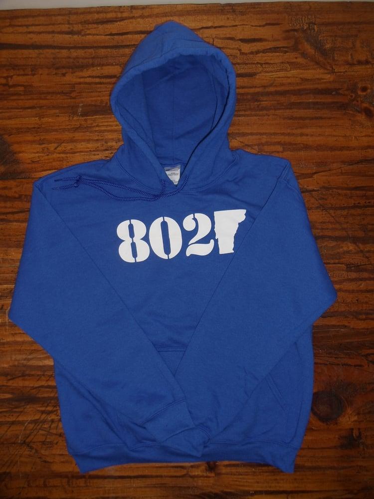 Image of 802 Vermont Hooded Sweatshirt - White on Royal Blue - Vermont Sweatshirt - 802 Sweatshirt