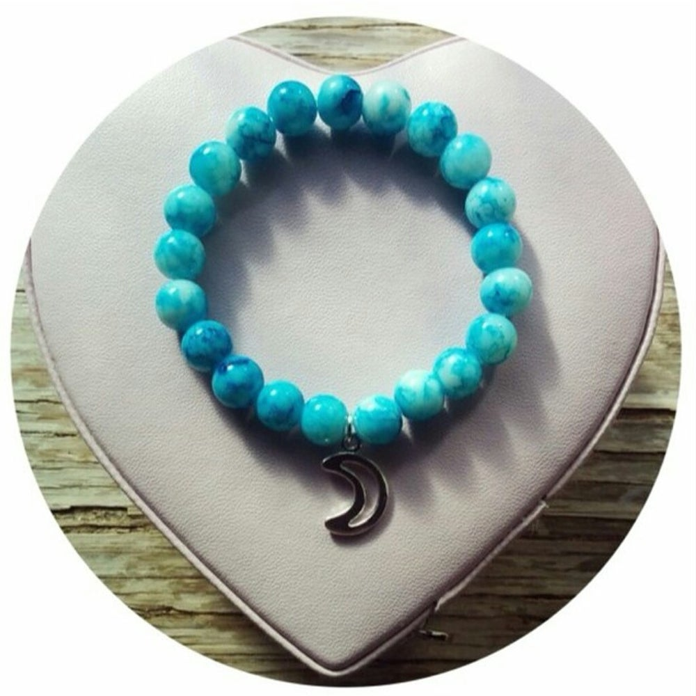 Image of Cyan Blue Moon Charm Bracelet