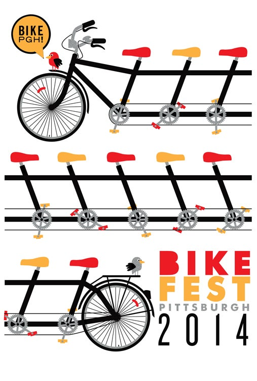 Image of BikePGH Bike Fest 2014 Silkscreen Poster