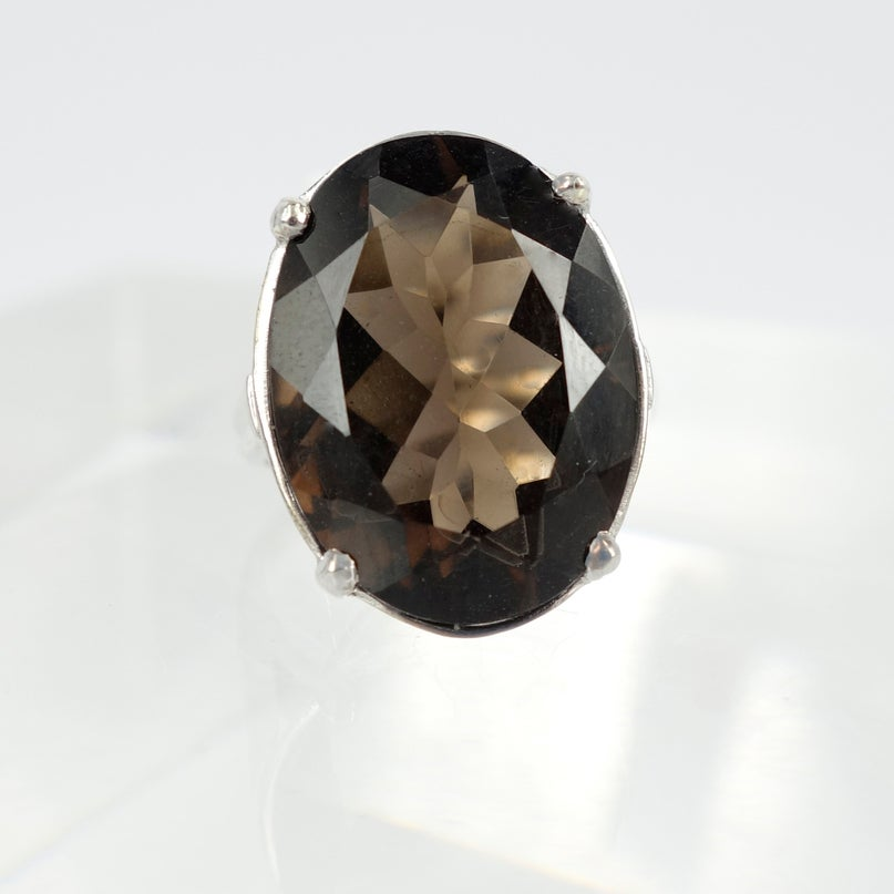 Image of White gold smokey quartz ring