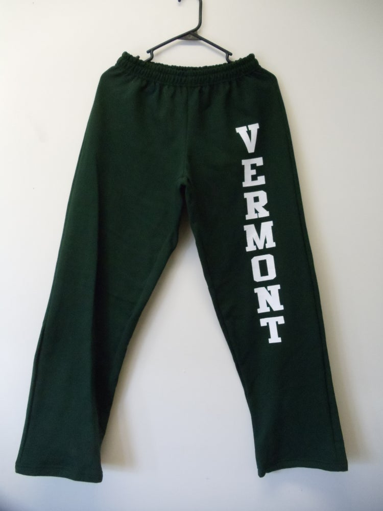 Image of Adult & Kids Vermont 8oz. Sweatpants - Forest Green with white Vermont on Leg