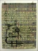"Image of MJL ""Print Squares Gibberish Eye Lines Face"" Art Print"